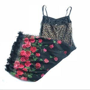 Vtg 90s bodycon dress S leopard floral fringe